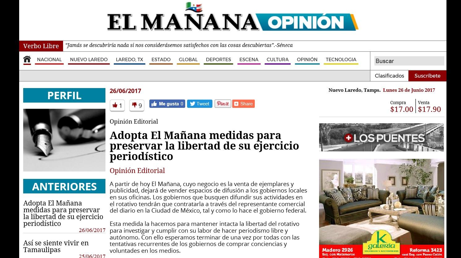 Periódico El Mañana de Nuevo Laredo advierte ataque del gobierno; anuncia  medidas para preservar libertad